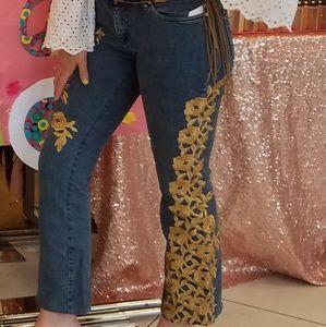 70s floral embellished flared jeans
